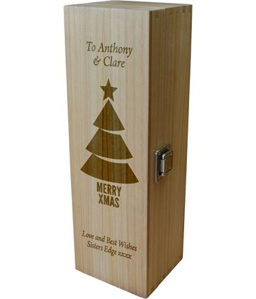 "Personalised Wooden Wine Box - Merry Xmas Tree 35cm (13.75"")"
