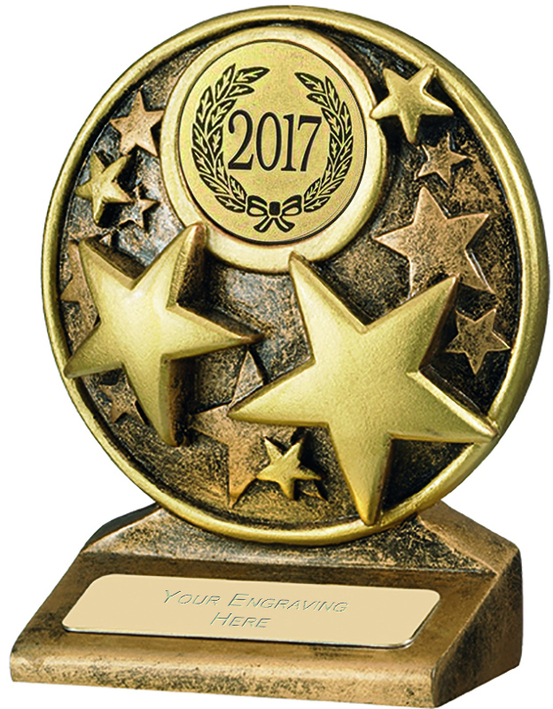 "2017 Round Gold Resin Multi Star Trophy 9cm (3.5"")"