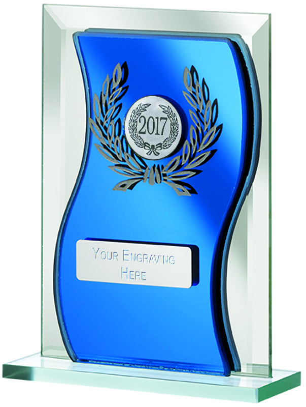 "2017 Blue Mirrored Glass Plaque Award 16.5cm (6.5"")"