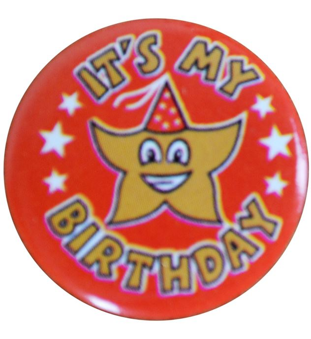 """Red It's my Birthday Pin Badge 25mm (1"""")"""