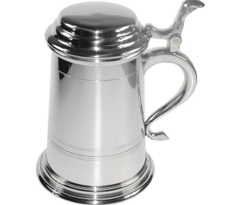 """Extra Heavy Balmoral 1pt Sheffield Pewter Tankard with Lid 16cm (6.25"""")"""