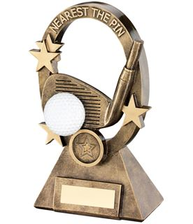 "White Golf Oval Stars Series Trophy Nearest The Pin 18.5cm (7.25"")"