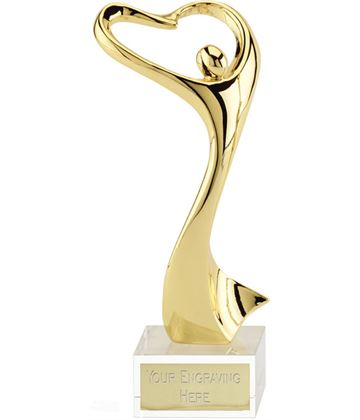 "Rhapsody Ceremonial Gold Metal Award on Optical Crystal Base 24cm (9.5"")"