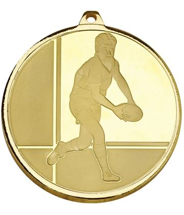 "Frosted Glacier Gold Rugby Medal 50mm (2"")"
