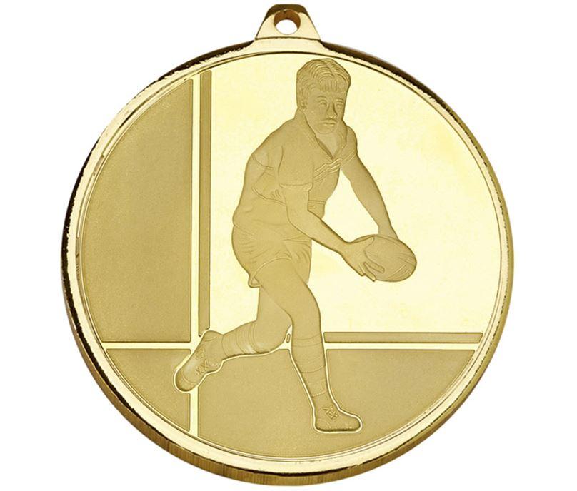 "Frosted Glacier Gold Rugby Medal 50mm (2"")"