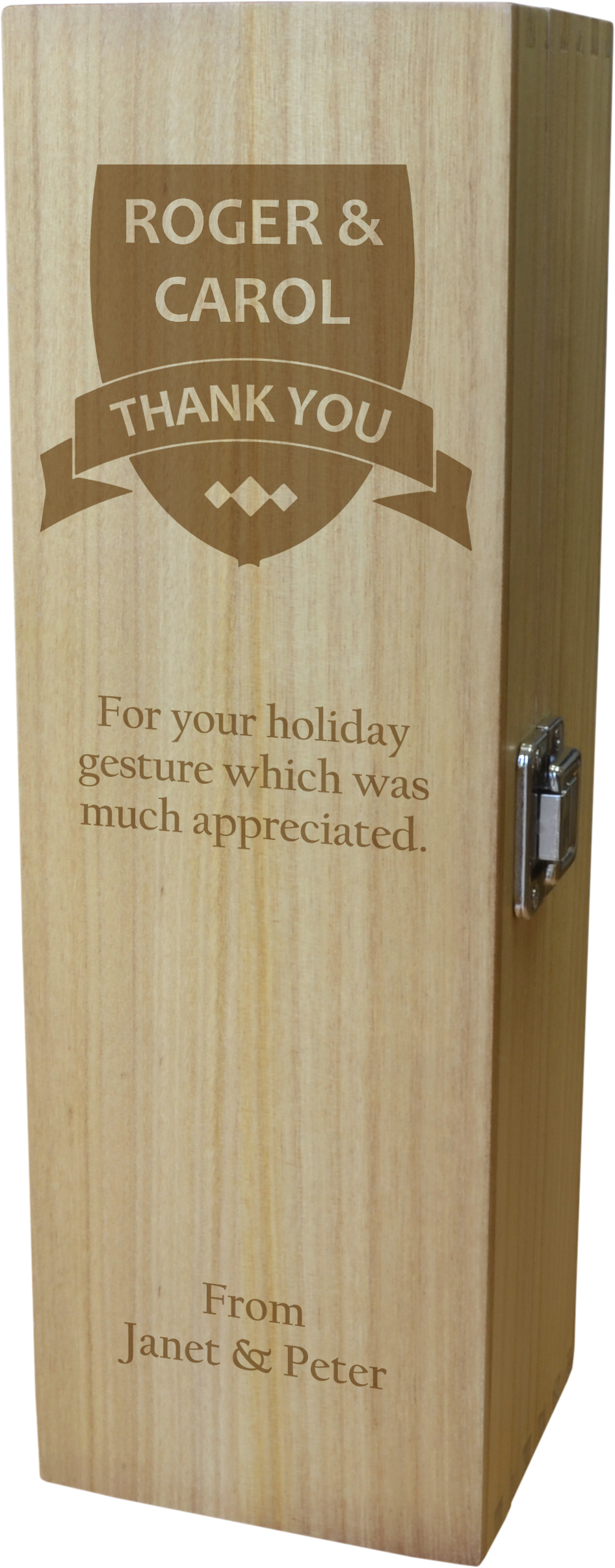 "Thank You Personalised Wine Box - Shield Design 35cm (13.75"")"