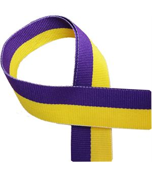 """Yellow and Purple Medal Ribbon 76cm (30"""")"""