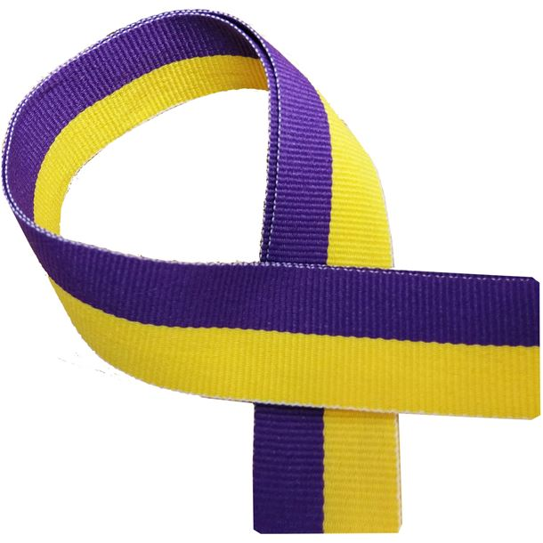 """Yellow and Purple Medal Ribbon 80cm (32"""")"""