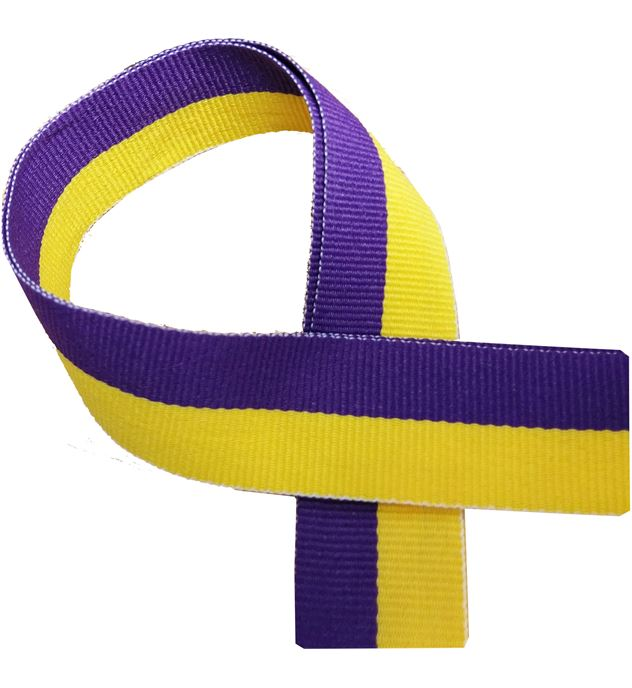 "Yellow and Purple Medal Ribbon 80cm (32"")"