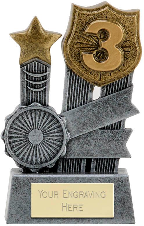 "Ribbon Third Place Trophy 9.5cm (3.75"")"