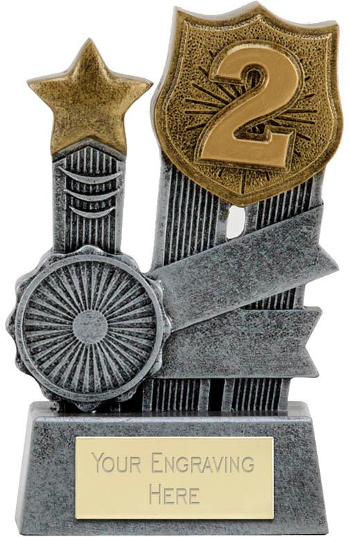 """Ribbon Second Place Trophy 9.5cm (3.75"""")"""