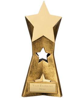 "Multi Award Star Trophy Antique Gold 18cm (7"")"