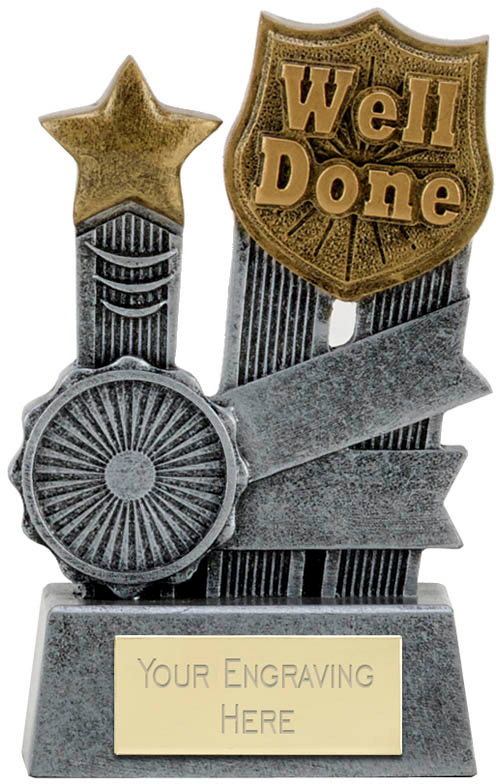 "Ribbon Well Done Trophy 9.5cm (3.75"")"