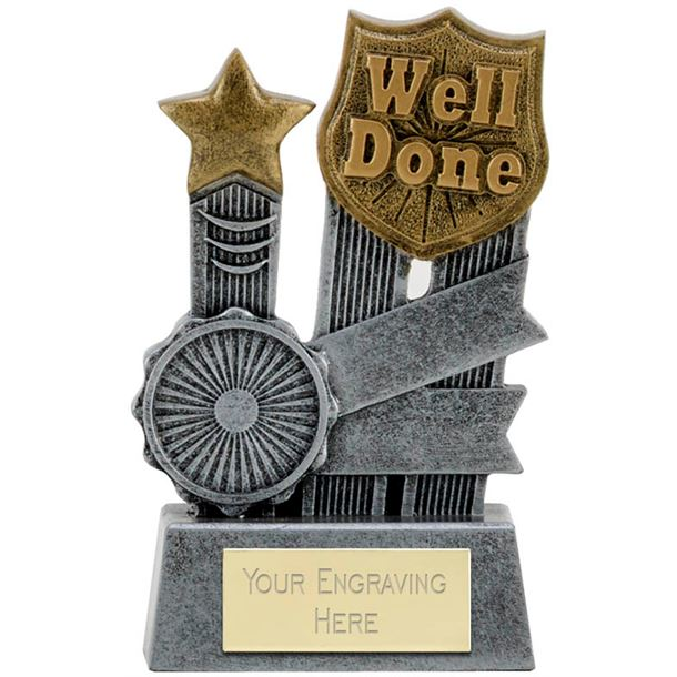 """Ribbon Well Done Trophy 9.5cm (3.75"""")"""