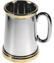 "Extra Heavy Brass Trimmed 1pt Sheffield Pewter Tankard 13.5cm (5.25"")"