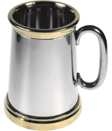"Extra Heavy Brass Trimmed 1pt Sheffield Pewter Tankard 13.5cm (5.25"")"