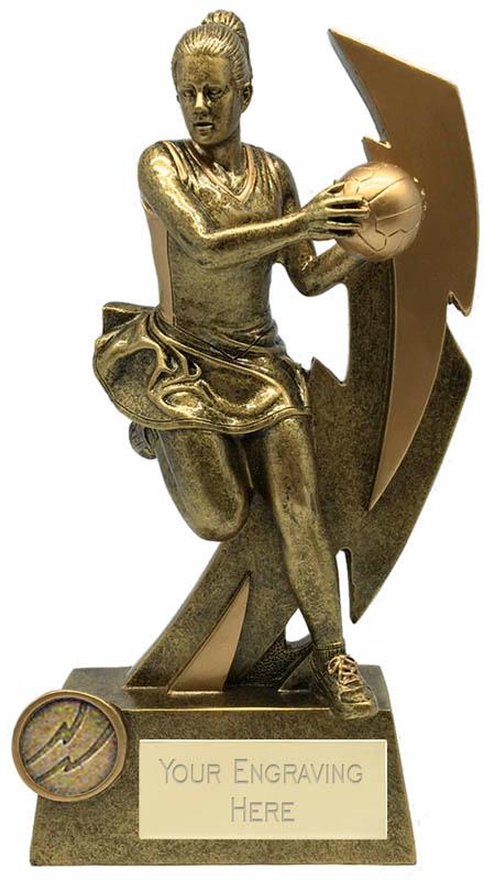 "Gold Flash Female Netball Trophy 20.5cm (8"")"