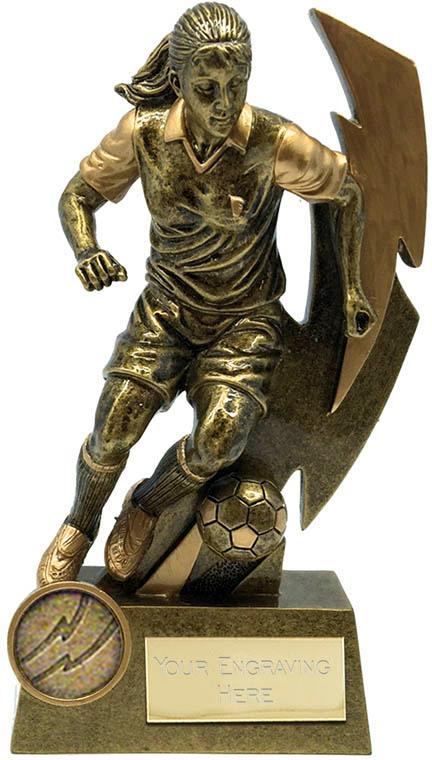 "Gold Flash Female Footballer Trophy 14.5cm (5.75"")"