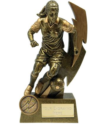 "Gold Flash Female Footballer Trophy 14.5cm (5.75"")"