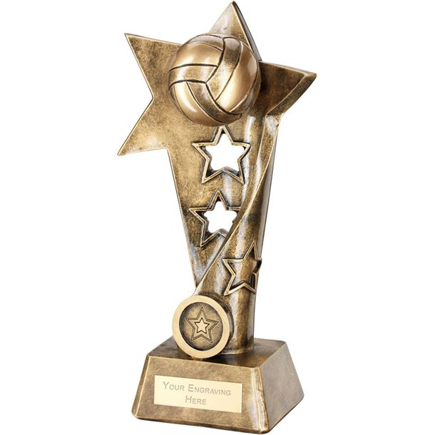 "Netball Twisted Star Column Trophy 19cm (7.5"")"