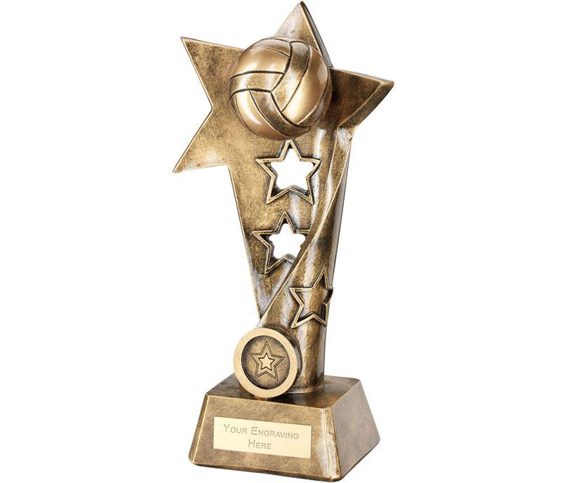"Netball Twisted Star Column Trophy 19cm (7.5"")"