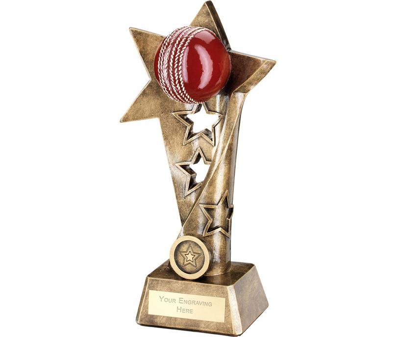 "Cricket Twisted Star Column Trophy 23cm (9"")"