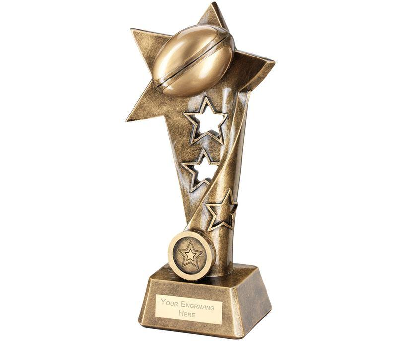 "Rugby Twisted Star Column Trophy 19cm (7.5"")"