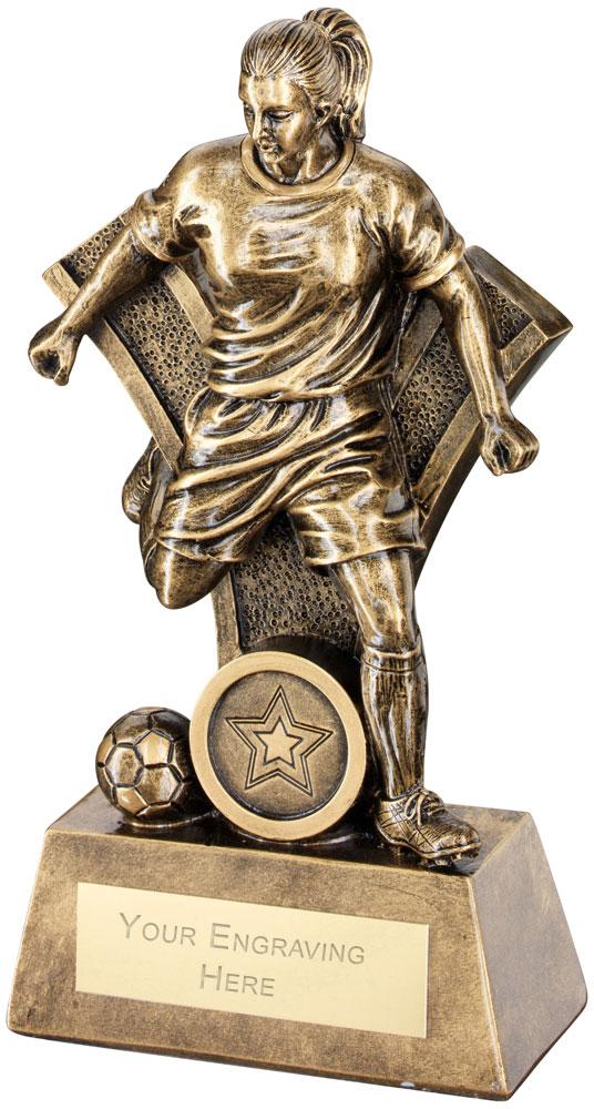 "Female Football Figure Victory Trophy 26cm (10.25"")"