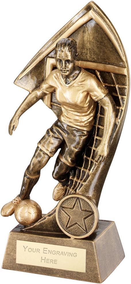 "Female Footballer With Net Backdrop Trophy 25.5cm (10"")"