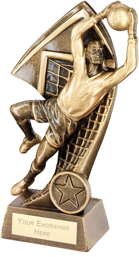 "Goalkeeper With Net Backdrop Trophy 18cm (7"")"