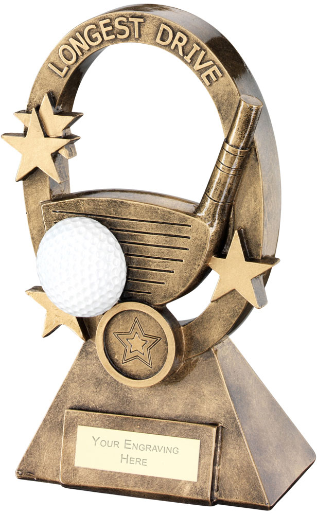 "White Golf Oval Stars Series Trophy Longest Drive 18.5cm (7.25"")"
