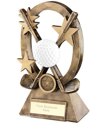 "White Golf Oval Stars Series Trophy 16cm (6.25"")"