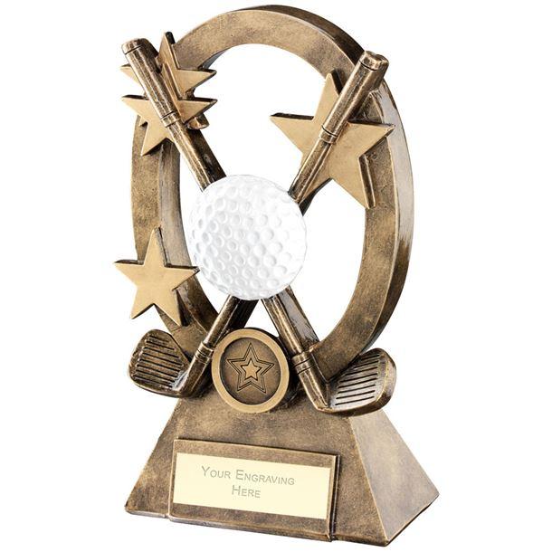 "White Golf Oval Stars Series Trophy 21cm (8.25"")"