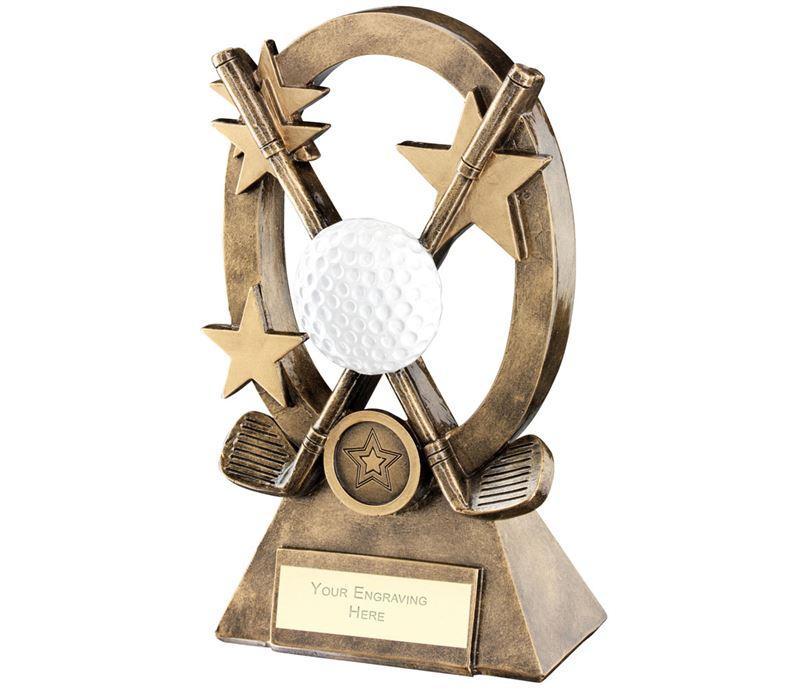 "White Golf Oval Stars Series Trophy 18.5cm (7.25"")"
