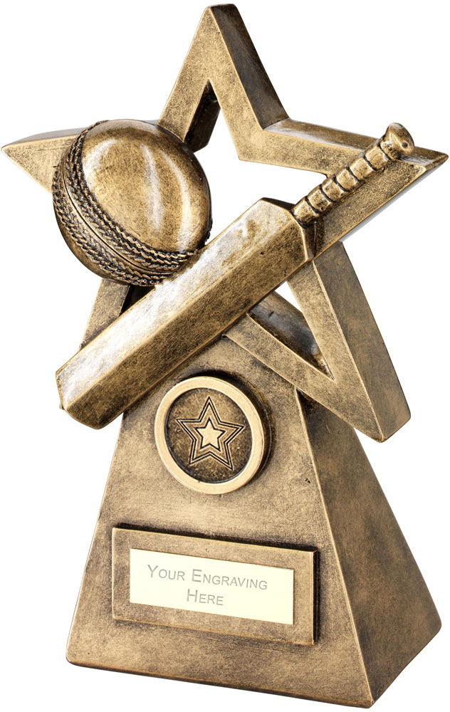 "Cricket Ball Bat On Star And Pyramid Trophy 24cm (9.5"")"