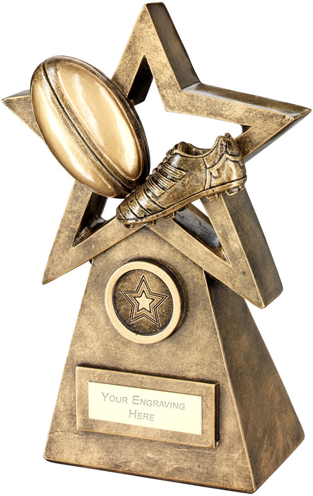 """Rugby Ball Boot On Star And Pyramid Trophy 24cm (9.5"""")"""