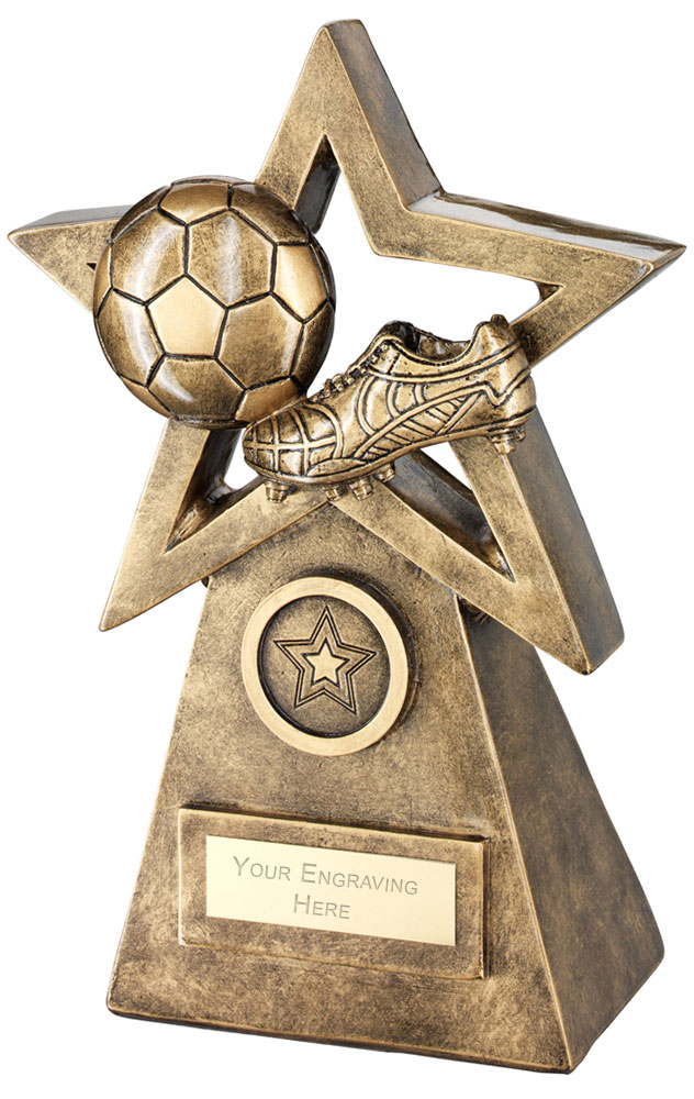 "Football Boot On Star And Pyramid Trophy 15cm (6"")"