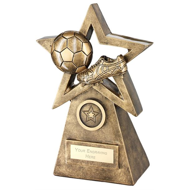 """Football Boot On Star And Pyramid Trophy 24cm (9.5"""")"""