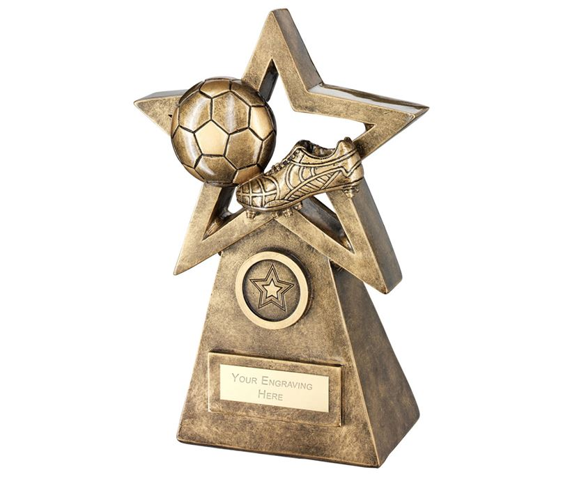 "Football Boot On Star And Pyramid Trophy 19.5cm (7.75"")"