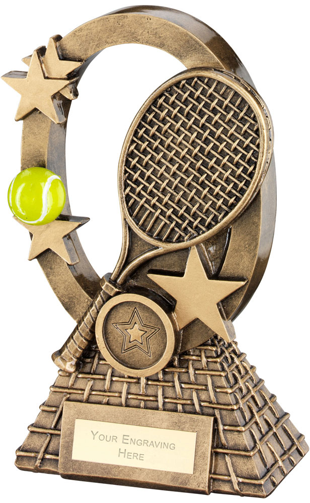 "Yellow Tennis Oval Stars Series Trophy 18.5cm (7.25"")"