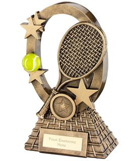 "Yellow Tennis Oval Stars Series Trophy 16cm (6.25"")"