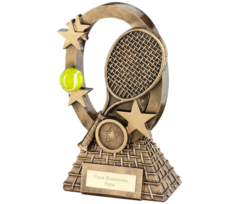 "Yellow Tennis Oval Stars Series Trophy 18.5cm (7.25"")"