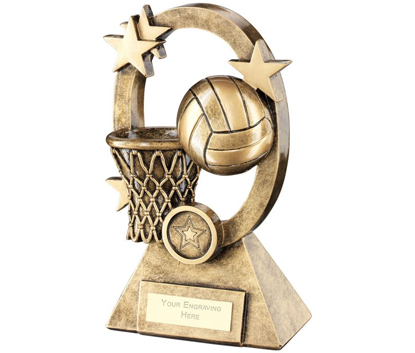 "Netball Oval Stars Series Trophy 18.5cm (7.25"")"