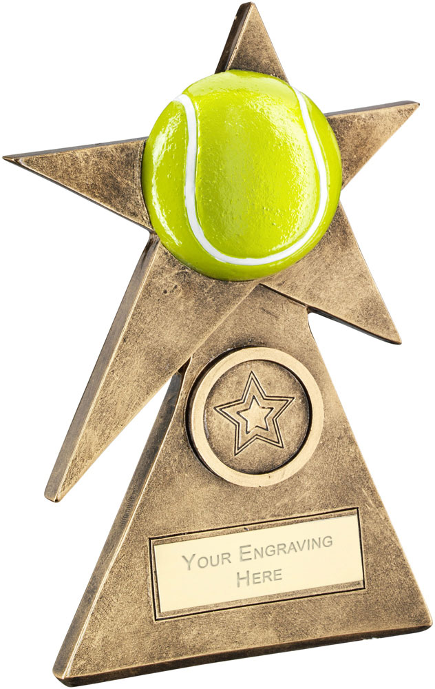"Yellow Tennis Star On Pyramid Base Trophy 15cm (6"")"
