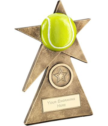 "Yellow Tennis Star On Pyramid Base Trophy 10cm (4"")"
