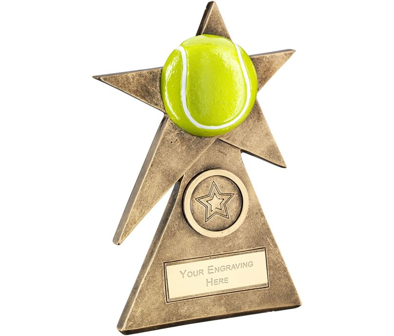 "Yellow Tennis Star On Pyramid Base Trophy 10cm (4"")"