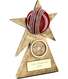 "Cricket Star On Pyramid Base Trophy 15cm (6"")"