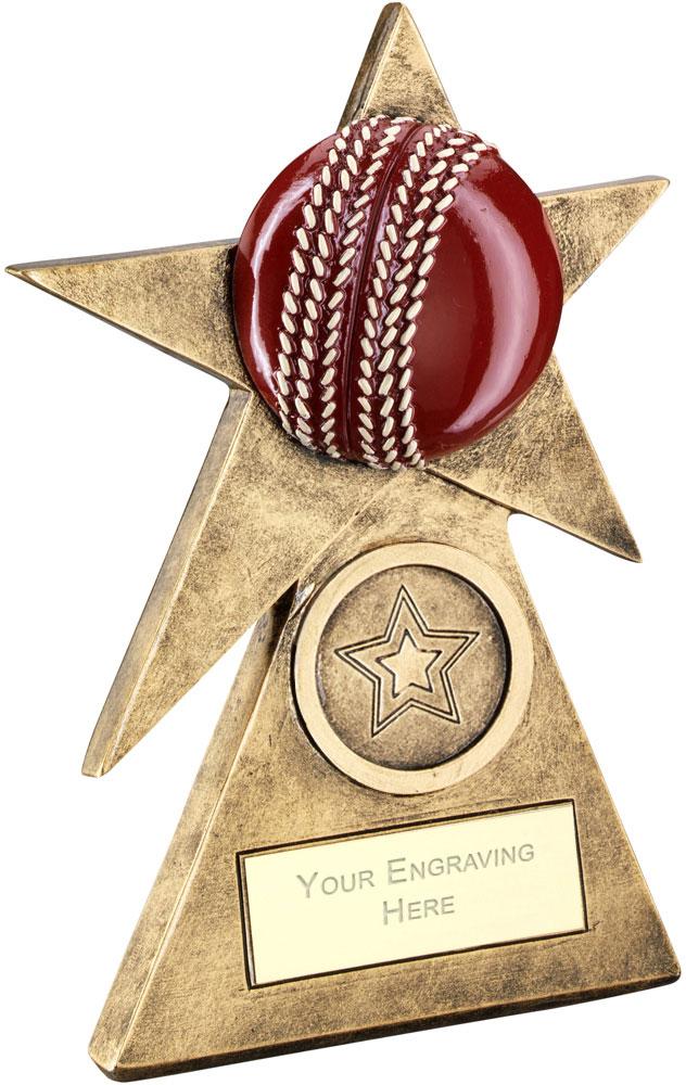 """Cricket Star On Pyramid Base Trophy 15cm (6"""")"""