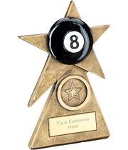 """Black Pool Star On Pyramid Base Trophy 12.5cm (5"""")"""