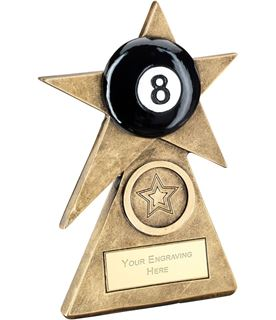 "Black Pool Star On Pyramid Base Trophy 12.5cm (5"")"